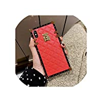 ソフトラムスキンPUレザーケースfor iPhone 11 Pro X XR XS Max 8 7プラスfor サムスンギャラクシーS9 S10プラス注10のためのスクエアチェック柄カバー,for iPhone 11,Red