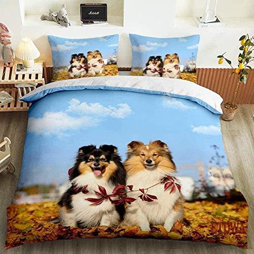 ETDWA Bettwasche-Set,Bettbezug für Haustiere mit 3D-Druck, Bettbezug für Katzen und Hunde, Kissenbezug, Einzelbettbezug mit doppeltem Kingsize-Bett-160cmx200cm