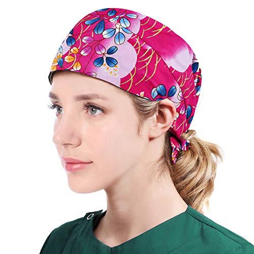 Printed Chef Hat Adjustable Cooking Hat Elastic Kitchen Fashion Sleep Cap Beanie Slap Hat for Women Men Rose