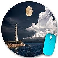 KAPANOU ラウンドマウスパッド カスタムマウスパッド、白い雲と穏やかな海の風景写真と海沿いの古い灯台、PC ノートパソコン オフィス用 円形 デスクマット 、ズされたゲーミングマウスパッド 滑り止め 耐久性が 200mmx200mm