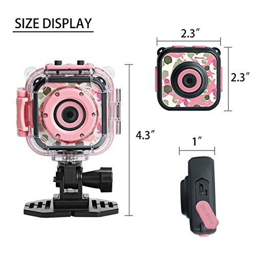 DROGRACE Kids Camera 1080P Digitale Foto- / Videokameras Unterwasser-Actionkamera Wasserdicht 98 Fuß für Kinder mit 1,77 LCD und Digitalzoom - Rosa