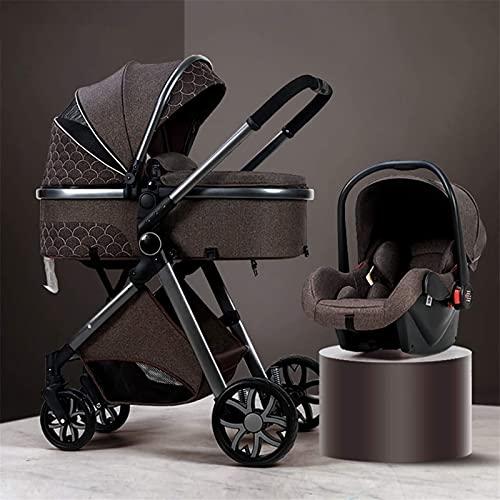 FXBFAG 3 en 1 Cochecito de bebé Silla de Seguridad para bebés Carro Plegable de Lujo Cochecito de Cochecito de Lujo Springs de absorción de choques Vista Alta PrAM Cochecito de bebé con Bolso de mamá