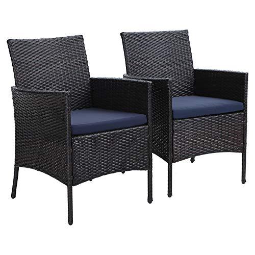 PHI Villa 2er Set Rattan Stuhl mit Kissen aus Polyrattan und Stahlrahmen Gartenstuhl für Gartenbalkon Wasserdicht