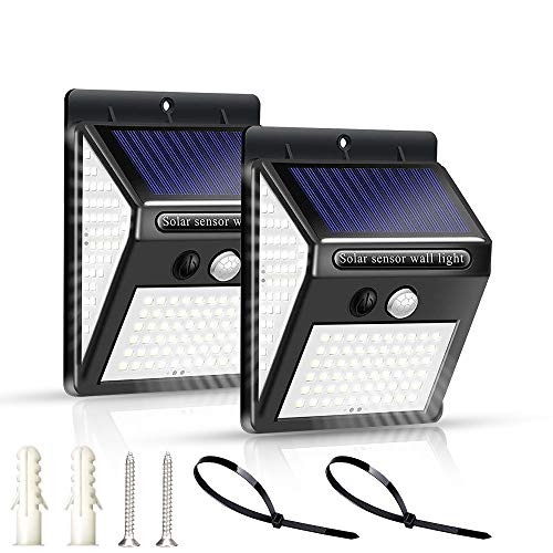 センサーライト 屋外 ソーラーライト 3つ点灯モード 150LED 人感センサーライト 三面発光 300°広い照射範囲防犯ライト IP65防水 壁掛け式屋外照明庭灯(2個セット)