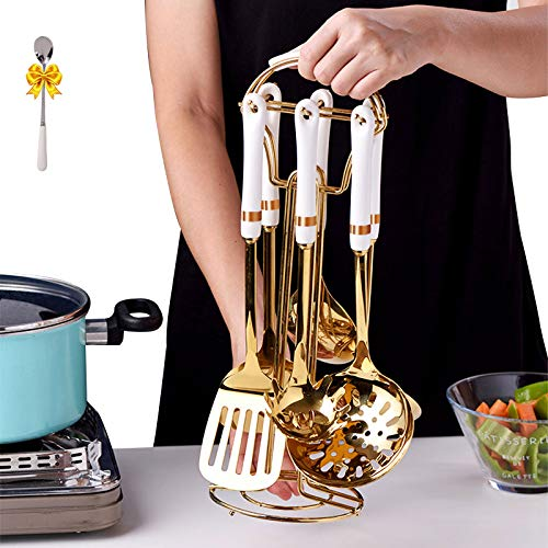 Kitchen Cooking Stainless Steel Utensils Set with Holder,SANDEWILY 6pcs Nonstick Ceramic Handle Cooking Tools Gadgets Spatula Set with Storage Organizer Stand Cookware Kitchenware set Gift(Golden)