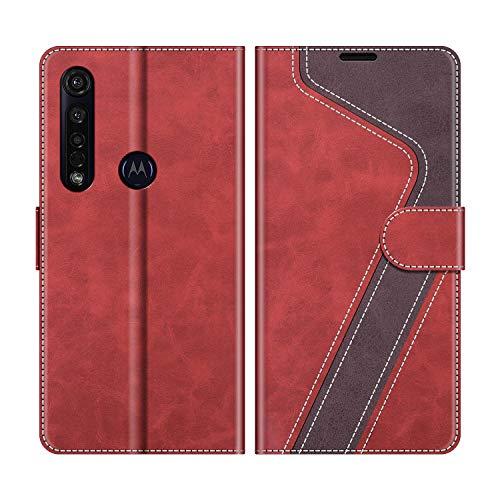 MOBESV Handyhülle für Motorola Moto G8 Plus Hülle Leder, Motorola Moto G8 Plus Klapphülle Handytasche Hülle für Motorola Moto G8 Plus Handy Hüllen, Modisch Rot