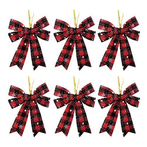 ZXCFTG Paquete de 6 lazos de búfalo a cuadros de 5 lazos, 4.7 x 3.9 en lazos de terciopelo negro y rojo de Navidad, adorno de Navidad para caja de regalo, guirnalda de árbol de Navidad, guirnalda