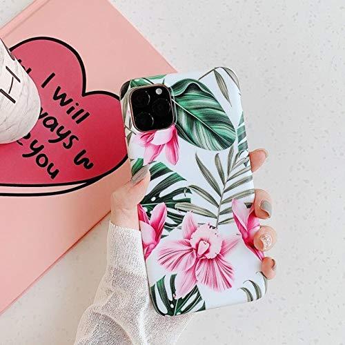 LUOKAOO Funda de teléfono con Flores Tropicales Frescas para iPhone 11 Pro XS MAX XR X 6 6S 7 8 Plus Funda Trasera Suave, honghua, para i6 i6s