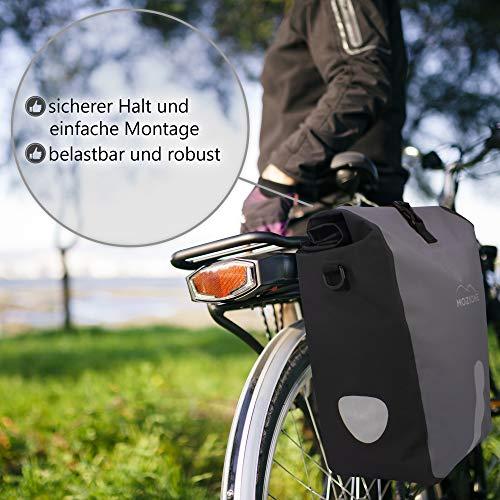 Mozione® Hinterradtasche – Universell passende Fahrradtasche mit bis zu 30l Stauraum – leichte Montage am Gepäckträger Dank mitgeliefertem Zubehör – wasserdichte Gepäckträgertasche mit Reflektoren - 3