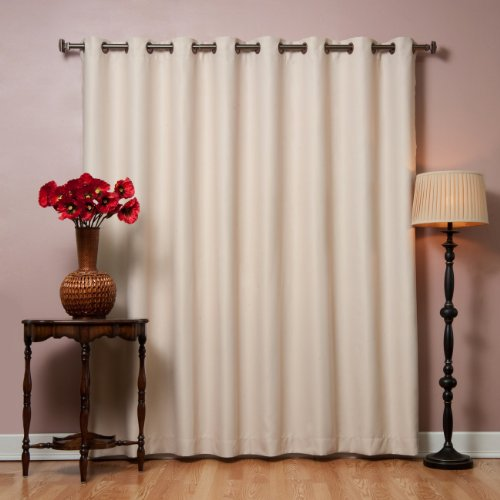 "Best Home Fashion Premium Wide Width Thermal Insulated Blackout Curtain - Antique Bronze Grommet Top - Beige - 100"" W x 84"" L - (1 Panel)"