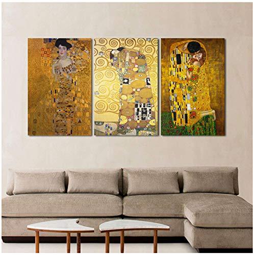 Aymsm Der Kuss von Gustav Klimt Leinwand Malerei Fine Art Prints Wandbild Für Wohnzimmer Wohnkultur 40x60cm (15,7