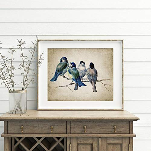 IGZAKER Blauwe Vogels Poster Print Vintage Vogel Illustratie Muur Canvas Schilderij Grote Vogel Dier Foto voor Woonkamer Home Decor-40x60cm geen frame