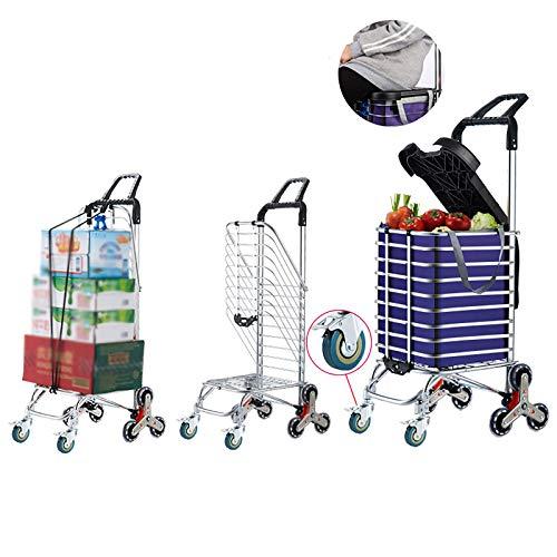 XIAOPENG Carritos de Compras Carrito Plegable con Ruedas Giratorias, Carrito de Supermercado con Ruedas para Lavandería, Carrito para Subir Escaleras con Bolsas de Lona