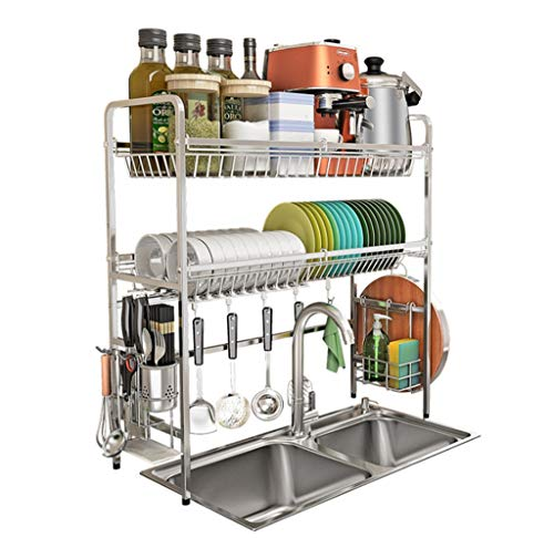 304 stainless steel Over Sink Drainer Rack, 2 Tier kitchen dish drain rack, multifunctional shelf, including knife/fork/cutting board rack and square basket/8 hook, silver