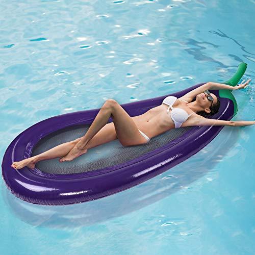 lahomie- Schwimmendes Bett,Pool Hängematte Aufblasbare Schwimmende Reihe PVC Auberginen geformte Luftmatratze Swimming Pool Beach Aufblasbares Schwimmkissen Wasser Schwimmbett (Aubergine Geformt)