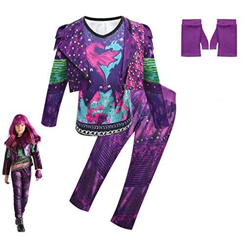 Disfraz de Descendientes 3, Disfraz de Halloween para niños de Audrey Mal Conjunto de Mono de Lujo Disfraz con Estampado 3D Vestido de Mascarada para Mujer Disfraz de Halloween de Audrey