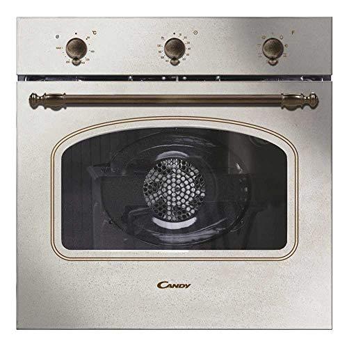 Candy FCC603NAV Forno Elettrico da Incasso, Ventilato, Capacità 65 Litri, Multifunzione e Funzione Pizza, 8 Programmi, 56.8x59.5x59.5 cm, Stile Rustico, Avena, Classe A+