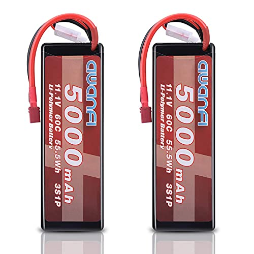 AWANFI 3S Lipo Battery 11.1V 5000mAh 60C Lipo RC Battery with Deans T Connector Hard Case Battery for Airplane Helicopter DJI F450 Quadcopter RC Car Truck Boats Slash HPI Arrma Redcat (2 Pack)
