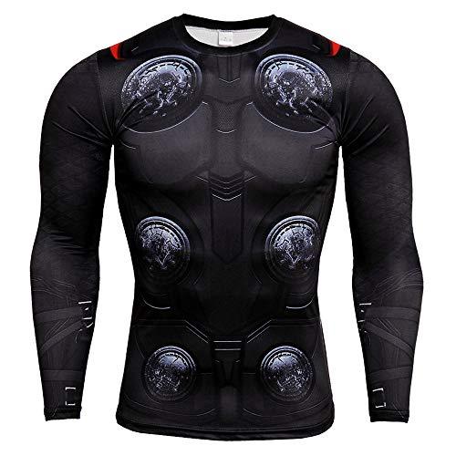 HOOLAZA Avengers Super Heroes Herren Langarm Kompressions T Shirt Herren Joggen Motion Shirt, Thor, L