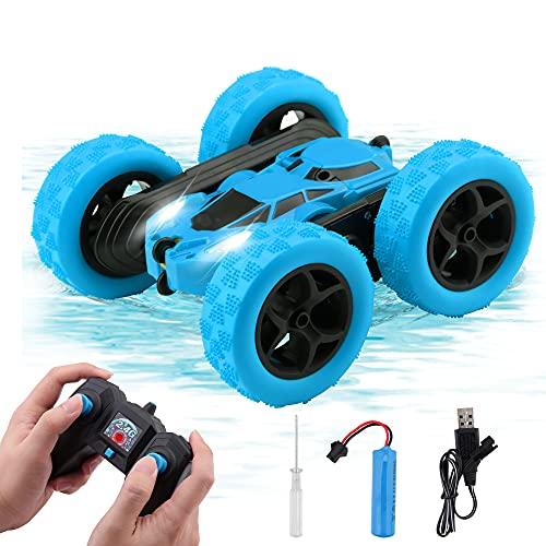 Coche Teledirigido,Control Remoto 4WD,Coche Teledirigido Niña,RC Vehículo con Batería Recargable,4x4 Coche RC , Rotación de Doble Cara, 2.4GHz,Rotación 360° (Blue)
