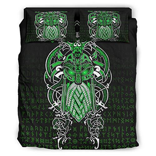 Twelve constellations Viking Odin Green - Juego de cama (4 piezas, 240 x 264 cm), multicolor