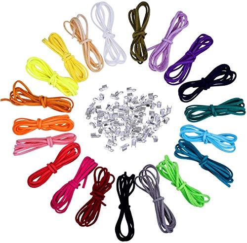 Cordón de Piel,20 piezas Cuerda de Cuero Multicolor 3mm x 1m Cordón de Ante y 200 piezas Extremos del Cable,para Collares Pulseras Bisutería Aretes Colgantes Hechos a Mano Llavero Manualidades