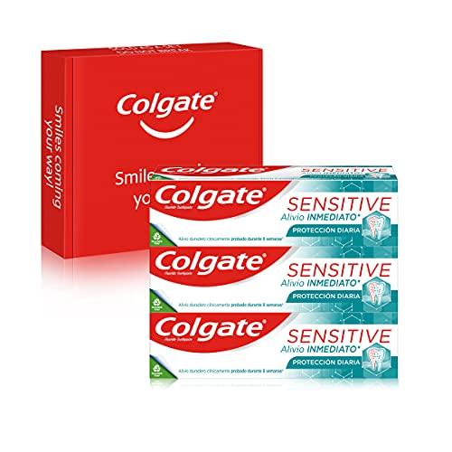 Colgate Sensitive Alivio Inmediato Protección Diaria, Pasta de Dientes, Alivio de la Sensibilidad Dental, Pack 3 Uds x 75ml