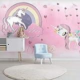 Papier Peint 3D Rose Fille Licorne Chambre Enfants Papier Peint Arc En Ciel Ciel Étoilé Fond...