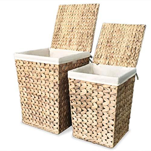 vidaXL 2X Wäschekorb Wasserhyazinthe Wäschesammler Wäschetruhe Wäschebox Set
