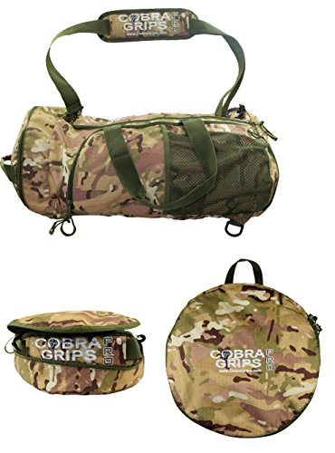 "Grip Power Pads Best Travel Foldable Sports Duffel Bag Luggage Water Resistant Wet/Dry Nylon Gym Multifunction Handbag Lightweight Backpack Gym Tote (CAMO, 24"" by 14"")"