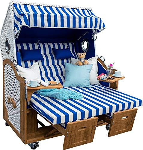 Strandkorb mit Bullaugen der Luxusklasse Made in Germany Modell Helgoland Irokoholz Brite 150 cm