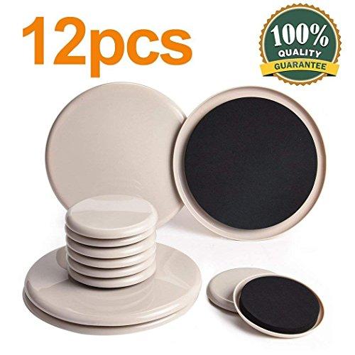 Ezprotekt - Juego de 12 deslizadores para mover muebles pesados reutilizables patines para desplazar muebles deslizadores para alfombra protectores para patas de muebles (3,5 pulgadas, 7 pulgadas)