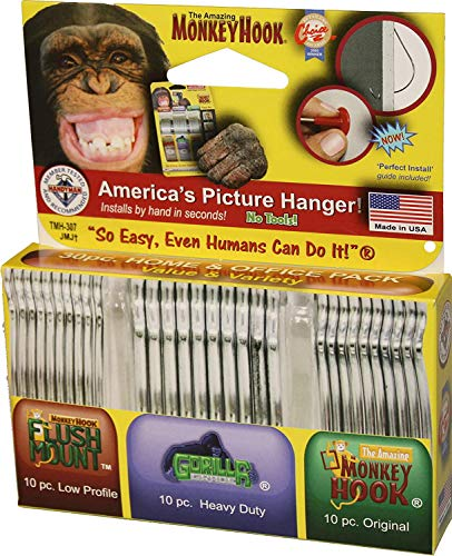Monkey Hooks Picture Hangers Home and Office Pack, Gorilla Hook, Drywall Hooks for Hanging Pictures, Wall Hooks, Picture Hangers, Picture Hanging Kit, 30 Pc Set