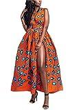 FEIYOUNG Women's Sexy Dashiki Floral Printed Side Slit Long Maxi Dresses Bohemian High Waist Vestidos Orange