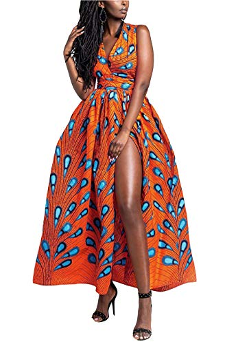 FEIYOUNG Women's Sexy Dashiki Floral Printed Side Slit Long Maxi Dresses Bohemian High Waist Vestidos Orange