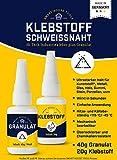 KLEBSTOFF SCHWEISSNAHT - 2K Power Kleber Reparatur Set für Kunststoff, Plastik, Metall, Holz,...