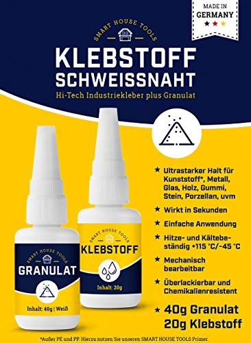 KLEVSTOF zweetnaden - 2 componenten Power lijm reparatieset voor kunststof, plastic, metaal, hout, etc. - extra sterk - industriële lijm plus granulaat wit