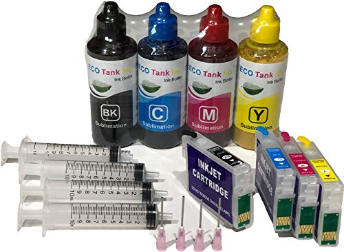 ECO Tank Ink 400 ml Sublimation Ink Combo kit Conversion Refill for Workforce WF-3520 3540 WF-7510 WF-7520 WF-7010 Printer Cartridges ARC Auto Reset for Heat Press Transfer with 4 Syringes 127