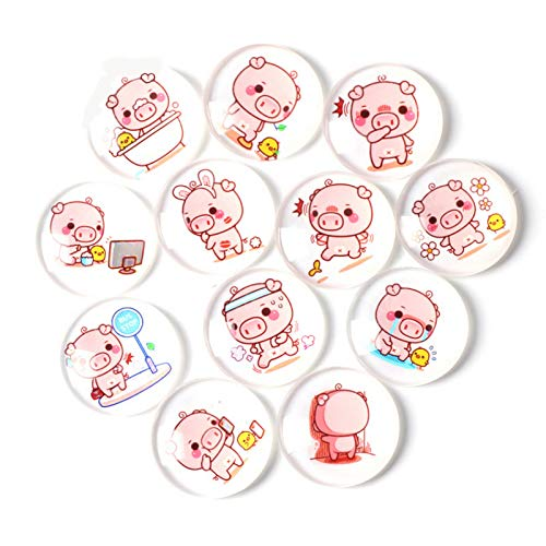 Cute Pink Pig Refrigerator Magnet Party Set of 12 Pack 3D Round Face For Silver Fridge Office Dry Erase Board Stainless Steel Door Freezer Whiteboard Cabinet Magnetic Great Fun