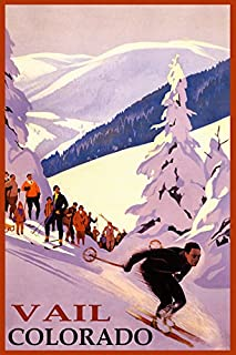 WINTER SPORTS VAIL COLORADO SKI MOUNTAINS DOWNHILL SKIING USA TRAVEL VINTAGE POSTER REPRO ON PAPER OR CANVAS (20