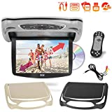 Car Roof Mount DVD Player Monitor 13.3 inch Vehicle Flip Down Overhead Screen- HDMI SD USB Card Input with Built-in IR Transmitter for Wireless IR Headphone, 3 Style Colors - Pyle PLRD146
