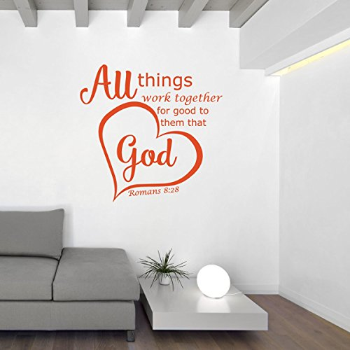 Christian Decor - Bible Verse Wall Decals - Romans 8:28 - All Things Work Together For Good To Them That Love God - Vinyl Sticker Art for Home or Church Decoration