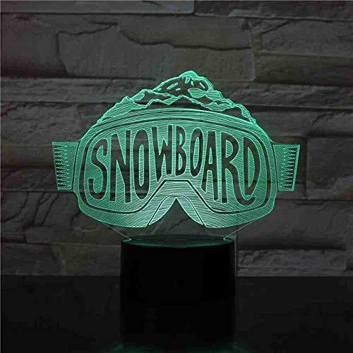 RJGOPL USB 3D LED nachtlampje Ski Snowboard decoratieve lichten jongens kinderen geschenken voor pasgeborenen skibril Neon