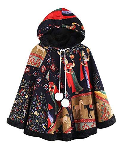 Nemopter Manteau Femme Élégant Poncho Chaud et Ouvert Châle Cape Epais pour Automne Hiver - Cape en Polaire Femme,Taille unique,Noir