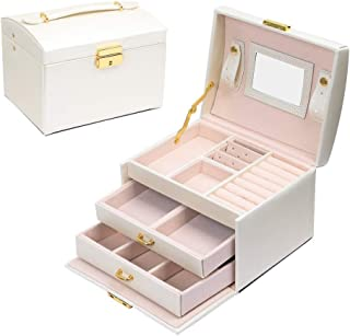 b13618d04 JOJJJOJ Jewellery Box Jewellery Oganiser Three Layers PU Leather Jewelry  Storage Box with Mirror and Lock