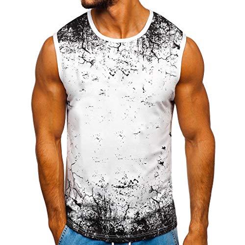 Fenverk Herren Fitness Shape Shirt Figur Formend Training Achselshirts Weste Sauna Schwitzeffekt Tank Top Stark Gym Bodyshape Mit Breit TräGer(Weiß 2,M)