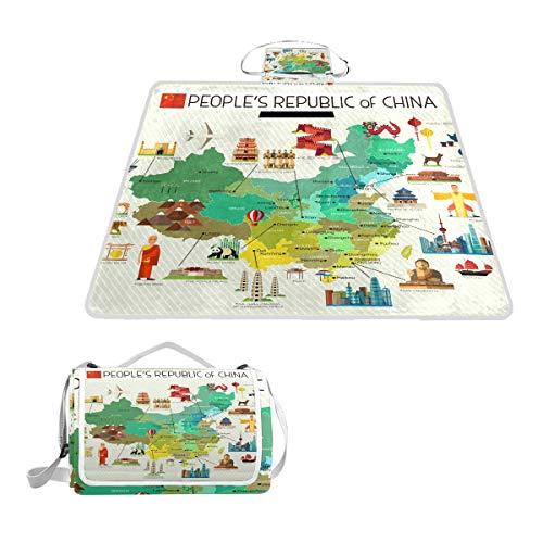 LZXO Jumbo-Picknickdecke, faltbar, chinesische Landkarte, 145 x 150 cm, wasserdicht, handliche Matte, für Outdoor-Reisen, Camping, Wandern.