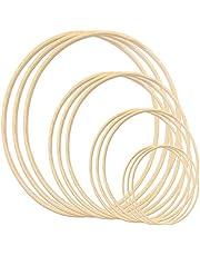 Gukasxi Kransringar trä bambu blommig ring set stor makramé hantverk ringar för gör-det-själv drömfångare, bröllopskransdekor och vägghängande hantverk