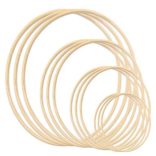12 aros de madera de bambú floral de macramé para manualidades con atrapasueños, anillos para decoración de coronas de boda, macramé, atrapasueño (15, 20, 25, 30 cm)