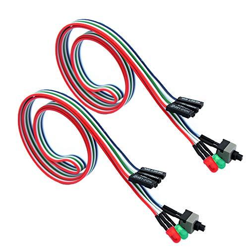 56tiankoou 2Pcs 3in1 PC Reset Off/On Schalter HDD Power LED Kabel Computer Ersatzkabel Kit Neu